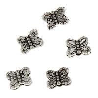 Zink Legierung Perlen Schmuck, Zinklegierung, Schmetterling, antik silberfarben plattiert, frei von Blei & Kadmium, 5.50x7.50x3mm, Bohrung:ca. 1mm, 50PCs/Tasche, verkauft von Tasche