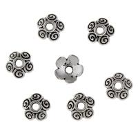 Zinklegierung Perlenkappe, Blume, antik silberfarben plattiert, frei von Blei & Kadmium, 8x8x25mm, Bohrung:ca. 2mm, 100PCs/Tasche, verkauft von Tasche