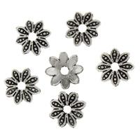 Zinklegierung Perlenkappe, Blume, antik silberfarben plattiert, frei von Blei & Kadmium, 9x9x2.50mm, Bohrung:ca. 2mm, 100PCs/Tasche, verkauft von Tasche