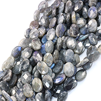 Labradorit Perlen, flachoval, natürlich, facettierte, 18x13x5mm, Bohrung:ca. 0.5mm, ca. 24PCs/Strang, verkauft per ca. 16 ZollInch Strang