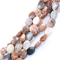 Mondstein Perlen, flachoval, natürlich, verschiedene Größen vorhanden & facettierte, Bohrung:ca. 0.5-1mm, verkauft per ca. 16 ZollInch Strang