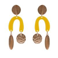 Harz Ohrring, Zinklegierung, mit Harz, Edelstahl Stecker, goldfarben plattiert, frei von Blei & Kadmium, 90mm, verkauft von Paar