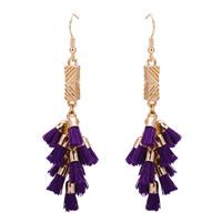 Mode-Fringe-Ohrringe, Zinklegierung, mit Nylonschnur, Eisen Haken, goldfarben plattiert, frei von Blei & Kadmium, 50-60mm, verkauft von Paar