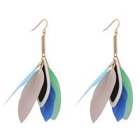 Mode-Feder-Ohrring, Zinklegierung, mit Feder & Harz, Eisen Haken, goldfarben plattiert, frei von Blei & Kadmium, 30x90mm, verkauft von Paar