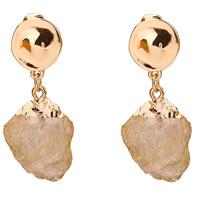 Natürliche Quarz Ohrringe, Zinklegierung, mit Gelbquarz Perlen, Edelstahl Stecker, goldfarben plattiert, frei von Blei & Kadmium, 14x48mm, verkauft von Paar