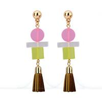 Mode-Fringe-Ohrringe, Zinklegierung, mit PU Leder & Harz, Edelstahl Stecker, goldfarben plattiert, frei von Blei & Kadmium, 19x70mm, verkauft von Paar