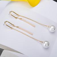 Zinklegierung Ohrringe, mit ABS-Kunststoff-Perlen, Edelstahl Stecker, goldfarben plattiert, frei von Blei & Kadmium, 95mm, verkauft von Paar