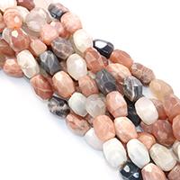 Mondstein Perlen, Klumpen, natürlich, facettierte, 12x18mm, Bohrung:ca. 0.5mm, ca. 23PCs/Strang, verkauft per ca. 16 ZollInch Strang
