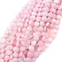 Natürliche Rosenquarz Perlen, flache Runde, facettierte, 12x12x5mm, Bohrung:ca. 0.5mm, ca. 33PCs/Strang, verkauft per ca. 16 ZollInch Strang
