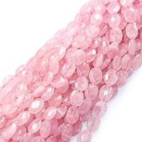 Natürliche Rosenquarz Perlen, flachoval, verschiedene Größen vorhanden & facettierte, Bohrung:ca. 0.5-1mm, verkauft per ca. 16 ZollInch Strang