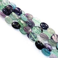 Fluorit Perlen, flachoval, natürlich, verschiedene Größen vorhanden, Bohrung:ca. 0.5-1mm, verkauft per ca. 16 ZollInch Strang