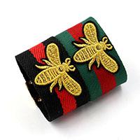 Brokat Armband, mit Zinklegierung, vergoldet, bestickte & für Frau & Streifen, keine, frei von Nickel, Blei & Kadmium, 40mm, verkauft per ca. 7.7 ZollInch Strang
