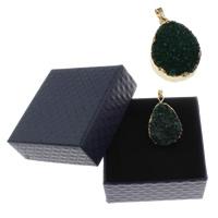 Natürliche Eis Quarz Achat Perlen, Eisquarz Achat, mit Zettelkasten & Zinklegierung, goldfarben plattiert, druzy Stil, grün, 25x35x10mm-30x40x12mm, Bohrung:ca. 4x6mm, 1PCs/Box, verkauft von Box