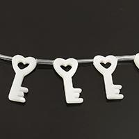 Natürliche weiße Muschelperlen, Schlüssel, 10x20x2mm, Bohrung:ca. 0.8mm, ca. 20PCs/Strang, verkauft per ca. 12 ZollInch Strang