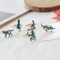 Zinklegierung Fingerring , Katze, goldfarben plattiert, verschiedene Stile für Wahl & für Frau & Emaille & buntes Pulver, frei von Nickel, Blei & Kadmium, 22mm, Größe:6.5, verkauft von PC
