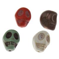 Synthetische Türkis Perle, Schädel, keine, 10x13x12mm, Bohrung:ca. 1mm, 5PCs/Tasche, verkauft von Tasche