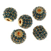 Strass Zinklegierung Perlen, Trommel, goldfarben plattiert, mit Strass, frei von Blei & Kadmium, 11.5x9.5mm, Bohrung:ca. 2mm, 5PCs/Tasche, verkauft von Tasche