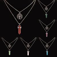 Unisex Halskette, Zinklegierung, mit Edelstein, Baum des Lebens, plattiert, verschiedenen Materialien für die Wahl & Oval-Kette, frei von Nickel, Blei & Kadmium, verkauft per ca. 15 ZollInch Strang
