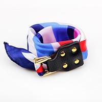 Polyester Armband, mit Kuhhaut & Zinklegierung, Platinfarbe platiniert, für Frau & 2 strängig, farbenfroh, 25mm, verkauft per ca. 16.5 ZollInch Strang