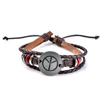 Unisex-Armband & Bangle, Zinklegierung, mit Gewachste Hanfschnur & PU Leder, plattiert, einstellbar & 3-Strang, frei von Blei & Kadmium, 62x24mm, verkauft per ca. 6.5 ZollInch Strang