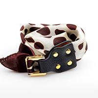 Polyester Armband, mit Kuhhaut & Zinklegierung, Platinfarbe platiniert, für Frau & 2 strängig, Kaffeefarbe, 25mm, verkauft per ca. 16.5 ZollInch Strang