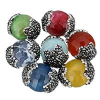 Achat Perlen, mit Ton, facettierte, keine, 18x22x18mm, Bohrung:ca. 1mm, 10PCs/Tasche, verkauft von Tasche