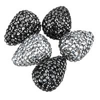 Strass Ton befestigte Perlen, Lehm pflastern, Tropfen, mit Strass, keine, 14x18x14mm, Bohrung:ca. 1mm, 10PCs/Tasche, verkauft von Tasche