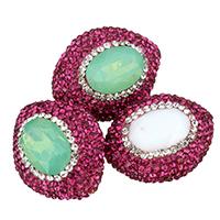 Kristall-Perlen, Lehm pflastern, mit Kristall, oval, facettierte & mit Strass, keine, 22x26x16mm, Bohrung:ca. 0.5mm, 10PCs/Tasche, verkauft von Tasche