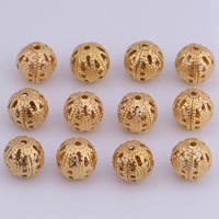 Messing hohle Perlen, rund, originale Farbe, frei von Nickel, Blei & Kadmium, 8mm, Bohrung:ca. 1.5mm, 100PCs/Tasche, verkauft von Tasche