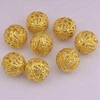 Messing hohle Perlen, rund, originale Farbe, frei von Nickel, Blei & Kadmium, 18mm, Bohrung:ca. 1.5mm, 50PCs/Tasche, verkauft von Tasche