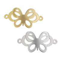 Edelstahl Schmuckverbinder, Schmetterling, plattiert, 1/1-Schleife, keine, 31.50x16.50x1mm, Bohrung:ca. 2mm, verkauft von PC