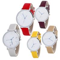 Damen Armbanduhr, PU Leder, mit Glas & Zinklegierung, Platinfarbe platiniert, einstellbar & für Frau, keine, frei von Nickel, Blei & Kadmium, 40x6mm, Länge:ca. 9.4 ZollInch, verkauft von PC