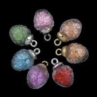 Glassturz Anhänger, Glas, mit Strass & Zinklegierung, Platinfarbe platiniert, keine, 15x26mm, Bohrung:ca. 2mm, verkauft von PC