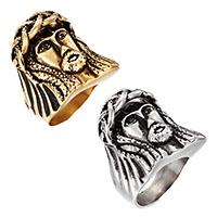 Edelstahl Herren-Fingerring, Charakter, plattiert, verschiedene Größen vorhanden & für den Menschen & Schwärzen, keine, 20x30mm, 6mm, verkauft von PC