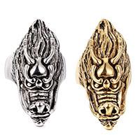 Edelstahl Herren-Fingerring, Drachen, plattiert, verschiedene Größen vorhanden & für den Menschen & Schwärzen, keine, 20x45mm, 6mm, verkauft von PC