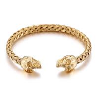 Herren-Armband & Bangle, Edelstahl, Schädel, 18 K vergoldet, einstellbar & für den Menschen, 12mm, Innendurchmesser:ca. 64mm, verkauft von PC