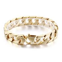 Herren-Armband & Bangle, Edelstahl, 24 K vergoldet, Kandare Kette & für den Menschen, 15mm, verkauft per ca. 8.6 ZollInch Strang