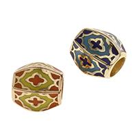 Messing European Perlen, goldfarben plattiert, keine, frei von Nickel, Blei & Kadmium, 8x7mm, Bohrung:ca. 4mm, verkauft von PC