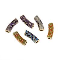 Messing European Perlen, goldfarben plattiert, keine, frei von Nickel, Blei & Kadmium, 23x7mm, Bohrung:ca. 4mm, verkauft von PC