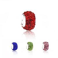 Strass Perlen European Stil, Ton, mit Zinklegierung, Rondell, Zink Legierung einadrig ohne troll, keine, frei von Nickel, Blei & Kadmium, 8x12mm, Bohrung:ca. 4.5mm, 10PCs/Menge, verkauft von Menge