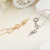Messing Halskette, mit Verlängerungskettchen von 2inch, Pistole, plattiert, Lariat Stil & Oval-Kette & für Frau, keine, frei von Nickel, Blei & Kadmium, 33x25mm, verkauft per ca. 17.7 ZollInch Strang