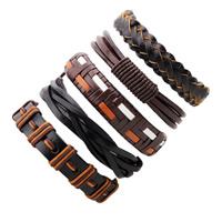 PU Leder Armband-Set, mit Gewachste Nylonschnur, einstellbar & für den Menschen, Länge:ca. 7-7.8 ZollInch, 5SträngeStrang/setzen, verkauft von setzen