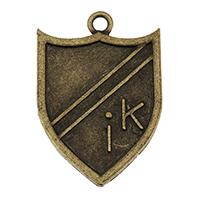 Zink-Aluminium-Anhänger, Zinklegierung, Schild, antike Bronzefarbe plattiert, mit Brief Muster, frei von Nickel, Blei & Kadmium, 24x36x1mm, Bohrung:ca. 2.5mm, ca. 178PCs/Tasche, verkauft von Tasche