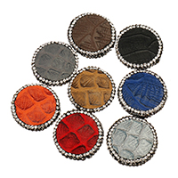 Strass Zinklegierung Perlen, Schlangenleder, mit Ton, flache Runde, keine, 25x7mm, Bohrung:ca. 1.8mm, 10PCs/Menge, verkauft von Menge