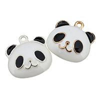 Zinklegierung Tier Anhänger, Panda, plattiert, Emaille, keine, frei von Nickel, Blei & Kadmium, 17x17x6mm, Bohrung:ca. 2mm, 50PCs/Menge, verkauft von Menge