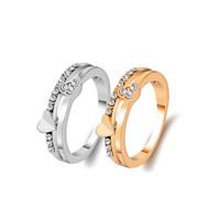 Zinklegierung Fingerring , Herz, plattiert, verschiedene Größen vorhanden & für Frau & mit Strass, keine, frei von Nickel, Blei & Kadmium, verkauft von PC