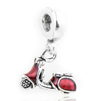 Zink Legierung Europa Perlen, Zinklegierung, Motorrad, antik silberfarben plattiert, ohne troll & Emaille, frei von Nickel, Blei & Kadmium, 14x24mm, Bohrung:ca. 4.5mm, 10PCs/Menge, verkauft von Menge