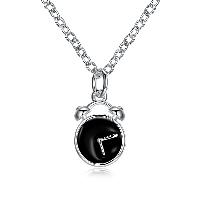 comeon® Schmuck Halskette, Messing, mit Verlängerungskettchen von 1.9lnch, Wecker, versilbert, Oval-Kette & für Frau & Emaille, frei von Nickel, Blei & Kadmium, 10x40mm, verkauft per ca. 17.7 ZollInch Strang