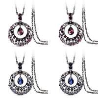 Zinklegierung Pullover Halskette, mit Eisenkette & Kristall, antik silberfarben plattiert, Doppelgliederkette & für Frau & facettierte & mit Strass, keine, frei von Blei & Kadmium, 72x52mm, verkauft per ca. 31 ZollInch Strang