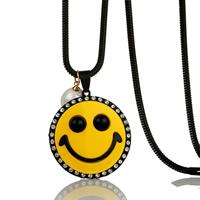 Zinklegierung Pullover Halskette, mit ABS-Kunststoff-Perlen & Eisenkette, flache Runde, metallschwarz plattiert, Schlangekette & für Frau & Emaille & mit Strass, frei von Blei & Kadmium, 82x32mm, verkauft per ca. 31 ZollInch Strang